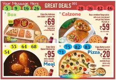 Dominos Food Anywhere 4 in 90 - 9x4 - 16 Cues format : Templates Tickets | Tambola Housie