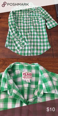 Plaid long sleeve from Old Navy Light weight long sleeve plaid shirt.  Green/purple/white plaid. Old Navy. Size Medium. Old Navy Tops
