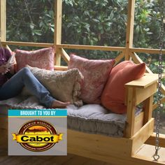 Build a DIY hanging daybed. Sponsored by Mike Ca… Every good porch needs a swing. Build a DIY hanging daybed. Sponsored by Mike Cabot stain. Building Furniture, Furniture Plans, Home Furniture, Furniture Stores, Luxury Furniture, Modular Furniture, Furniture Showroom, Furniture Removal, Small Furniture