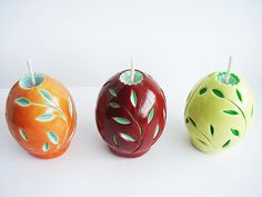 Rate is for two candles. A set of carved candles are handmade in Apple style. Cute Candles, Diy Candles, Scented Candles, Carved Candles, Candle Art, Homemade Candles, Candels, Candle Centerpieces, Candle Making