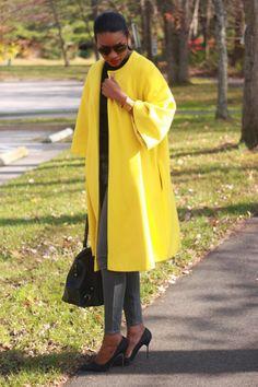 DIY Bright yellow statement coat