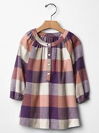 Checkered flannel dress - inspiration, from adults or older child's shirt