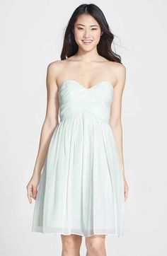 Free shipping and returns on Donna Morgan 'Morgan' Strapless Silk Chiffon Dress (Regular & Plus) at Nordstrom.com. A delicate chiffon dress with a strapless sweetheart bodice is hand-ruched and tacked to create a flattering cross-drape effect.