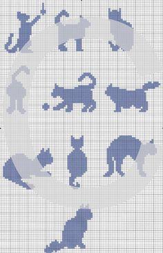 chats 01 au point de croix  à télécharger