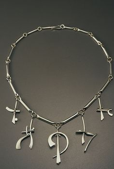 Necklace | Tom McCarthy.  Sterling, 18K gold   ------- maybe do another rendition ... with RUNES