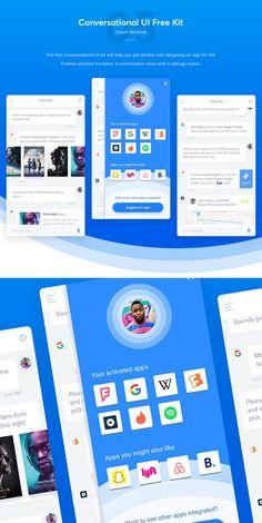 Free Conversational Mobile App UI Kit User Interface Design, Ui Ux Design, Ui Elements, Design Elements, Layout Template, Templates, Mobile App Ui, Web Layout, Ui Kit