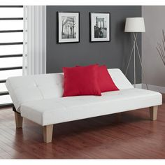 Maximize your small (or large) space with this comfortable and low-set Futon Sofa Bed. This sofa sleeper bed is quick and easy to assemble. Futon Sofa Bed Low-set sofa sleeper with microfiber cover. Ikea Futon, Futon Diy, Futon Bedroom, Futon Sofa Bed, Sofa Couch, Futon Mattress, Sleeper Sofas, Dorm Futon, Ideas