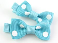 Baby Hair Clips - Aqua Blue Polka Dots Little Bow Clips - Matching Pair Hair Barrettes for Babies Toddlers Girls No Slip Alligator Clips. $4.50, via Etsy.