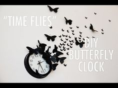 "Awesome idea! Thinking about doing this in my living room.  DIY ""Time Flies"" Butterfly Clock - A Mr. Kate Quickie Tutorial - YouTube"