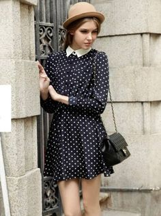 Polka Dot Pleated Dress