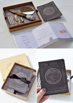 Creative Survival Kit Invitations ~ featured ghoulishly gorgeous booklet invitations, as well as a kit with a stake, holy water, and silver bullets so you can fight your way th. Carnival Invitations, Halloween Party Invitations, Unique Invitations, Invitation Cards, Invitation Ideas, Invitation Design, Wedding Invitation, Invite, Spooky Halloween