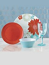16-Piece Floral Melamine Dinnerware Set   Blair