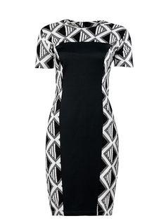 Achaa Black & White shift dress