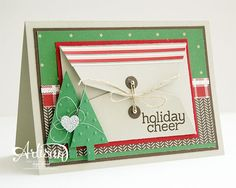 SU! Gift Card Thinlets, Tree Punch, Trim the Tree DSP, Cheerful Tags stamp set (sentiment) - Inge Groot