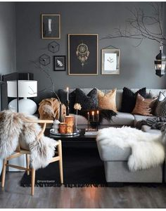 Awesome Stunning Winter Living Room Decor Ideas You Should Try 26 – All About Home Decoration Winter Living Room, Living Room Grey, Home And Living, Living Room Furniture, Modern Living, Dark Furniture, Small Living, Cozy Living, Modern Furniture