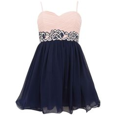 Petite Navy and Pink Embellished Waist Prom Dress ($68) ❤ liked on Polyvore