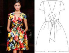 Готовая выкройка платья с запахом в японском стиле
