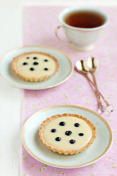 Elegantly styled, richly yummy looking White Chocolate Tarts