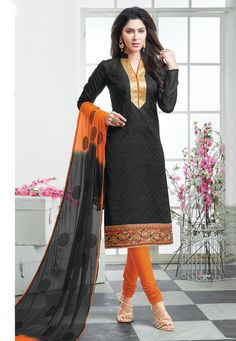 Classy Black & Orange Churidar Salwar Suit Dress Material-2006