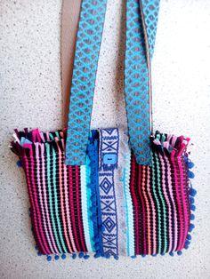 boho handwoven messenger bag in bright colours rag ethnic bag