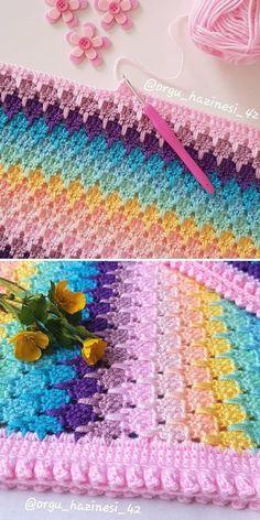 Crochet Box, Crochet Motif, Crochet Yarn, Easy Crochet, Crochet Flowers, Crochet Ideas, Free Crochet, Baby Afghan Crochet Patterns, Crochet Stitches For Blankets