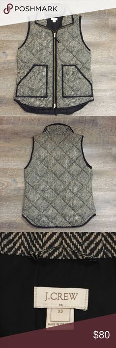 J. Crew Herringbone vest Xsmall fits like a Small. Husband bought it for me for Christmas but it was too large. Brand new. Never been worn, only tried on. Since it was a gift, the tags were removed and accidentally tossed. It's a beauty and I ADORE my xxsmall that's hanging in my closet waiting for fall to return!!! ❤️ J. Crew Jackets & Coats Puffers