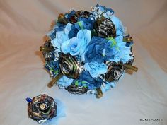 Camo Wedding Bouquet in Blues with Shells by BouquetsByKeepsakes