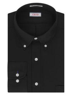 IZOD Black PerformX  ular-Fit Dress Shirt
