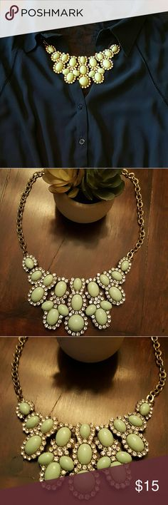 """Mint Statement Necklace Worn maybe a handful of times,  I've decided to start selling my """"loved but not worn enough"""" baubles! Great statement piece! Mint resin, glass crystals CZ, gold colored chunky chain.  Comment below if you have any questions and as always I am open to offers!!! Happy poshing! ? Jewelry Necklaces"""