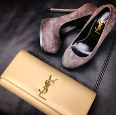 ysl clutch and suede tribtoos. #bagporn #shoeporn #perfectpairings