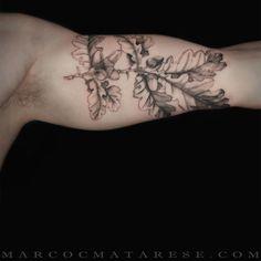 Oak Leaf Marco C. Matarese tattoo | Etching, linework, engraving. Milan, Italy…