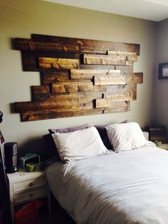 Badass headboard or is that just wall art? Cool Headboards, Headboard Ideas, Make Your Own Headboard, Reclaimed Wood Headboard, Home Bedroom, Bedrooms, Rustic Decor, Diy Home Decor, House Design