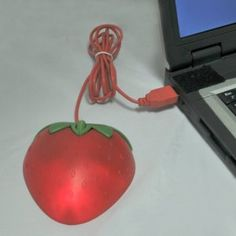 USB Optical Mouse with Lights, Strawberry Shaped!