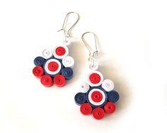 Bianco, rosso e blu orecchini di carta, dichiarazione Quilled orecchini, gioielli di carta Quilling, fai da te di carta gioielli, gioielli amichevole di Eco