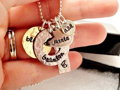 Hand Stamped Jewelry Mixed Metal Cluster by ImprintedDesigns