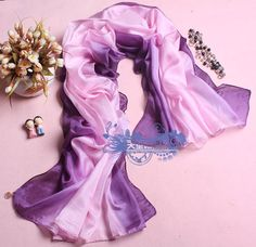 Cheap fashion soft pink purple gradient real silk scarf ss0048 [ss0048]- US$34.50 outlet free shipping with top quality - scarves4ever.com