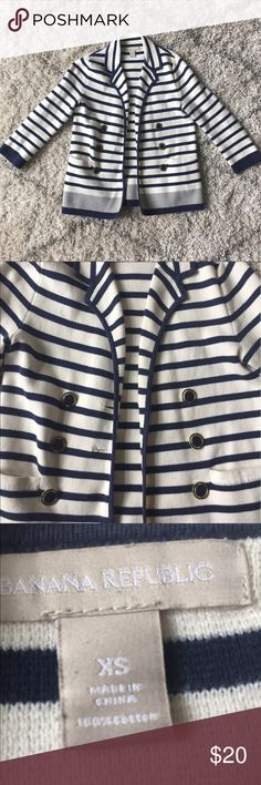 Banana Republic Striped Blazer! Cream and navy Striped cotton blazer from Banana Republic! It has been washed and dried before so it should not shrink. Very comfortable since it is all cotton and the buttons add such a classy detail! No trades or PayPal please! Banana Republic Jackets & Coats Blazers