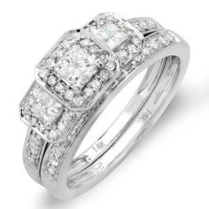 1.00 Carat (ctw) 14k White Gold Round & Princess Cut 3 Stone Diamond Ladies Engagement Ring Matching Wedding Band Set.  This lovely diamond engagement Bridal Ring Set featuring 1.00 ct white diamonds in Prong setting. All diamonds are sparkling and 100% natural. All our products with FREE gift box and 100% Satisfaction guarantee.