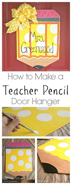 Perfect for Back to School! I can't wait to make one of these Teacher Pencil Door Hangers to put outside my classroom. Super cute handpainted diy door decor!