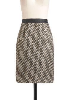 Back to Classic Skirt by Darling - Mid-length, Black, Work, Pencil, Tan / Cream, Print, Exposed zipper, Winter, International Designer