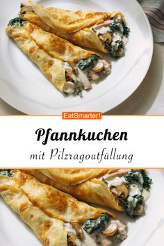 Pfannkuchen mit Pilzragoutfüllung Pancakes with mushroom ragout filling: You can find this and many other delicious low carb recipes at EAT SMARTER. Low Carb Vegetarian Recipes, Low Calorie Recipes, Veggie Recipes, Healthy Recipes, Pancake Healthy, Healthy Eating Tips, Mushroom Recipes, Cookies Et Biscuits, Relleno