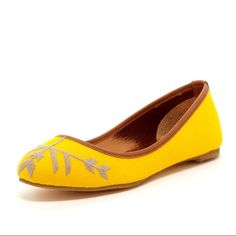 Cynthia Vincent Embroidered Canvas Ballet Flats