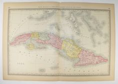 1881 Rand McNally Cuba Map, Antique Map of Cuba, Gift for Parents, Cuba Wall Art, Vintage Home Decor, Man Cave Decor Gift for Husband available from OldMapsandPrints.Etsy.com #CubaAntiqueMap #VintageMapofCuba #RandMcNallyCubaMap #CubanDecorGiftIdea