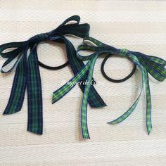 ハンドメイドチェックロングリボンヘアゴム Handmade tartan check long ribbon hair accesory  http://ameblo.jp/bouquet-de-coeur/