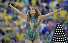 Start: J-LO acknowledges the crowd after singing the official World Cup song 'We Are One (...