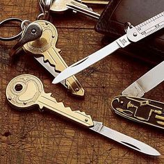 Hidden Pocket Knives - German Made Key & Japanese Steel Rule Hide Knife Inside
