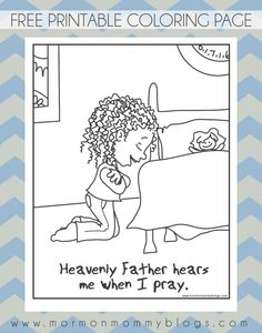 """""""He hears me when I pray"""" printable coloring page"""