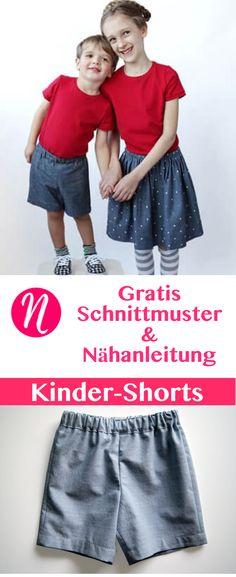 Einfache Shorts für Kinder - für 6 Monate bis 12 Jahre - für Mädchen und Jungs ❤ DIY - selber nähen ✂ Nähtalente.de - Magazin für kostenlose Schnittmuster ✂ Free sewing pattern for an easy girls & boys short for 6 month - 12 years.