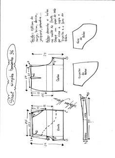 Esquema de modelagem de short simples cós médio tamanho 36.