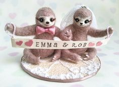 Sloth Wedding Cake Toppers Unique Needle Felted By Mythillogical
